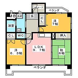 オーキッドマンション柱町[5階]の間取り