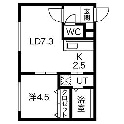 JR函館本線 桑園駅 徒歩9分の賃貸マンション 5階1LDKの間取り