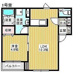 Kelii駒場車庫 3階1LDKの間取り
