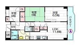 リバーサイド江坂[3階]の間取り