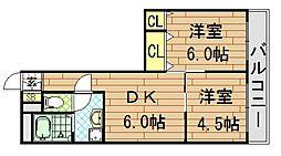 コーポラス小阪[504号室]の間取り
