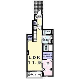 Osaka Metro谷町線 大日駅 徒歩23分の賃貸アパート 1階1LDKの間取り