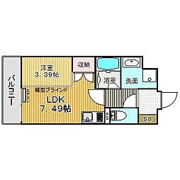 愛知県名古屋市中川区八熊通6丁目の賃貸マンション 4階1DKの間取り