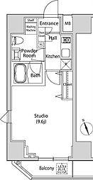 JR山手線 新橋駅 徒歩8分の賃貸マンション 11階1Kの間取り