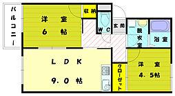 プレジールユタカ[2階]の間取り