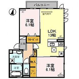 D-room平野市町2丁目[2O1号室号室]の間取り
