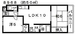 川辺マンション[403号室号室]の間取り