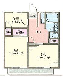 会田ハイツB[202号室]の間取り