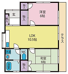 いちい住宅 1階2LDKの間取り