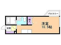 Maison花 〜メゾンハナ〜 1階1Kの間取り