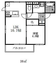 シャルマン・ラ・エリカ 2階1LDKの間取り