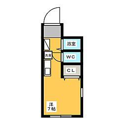 会沢コーポ 1階ワンルームの間取り