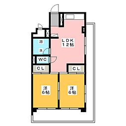 西村ハイツ[6階]の間取り