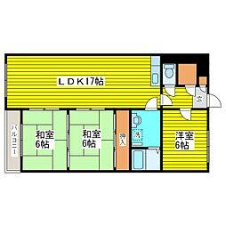 北海道札幌市東区東苗穂三条1丁目の賃貸マンション 2階3LDKの間取り