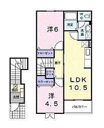 ラッフィナートA[2階]の間取り