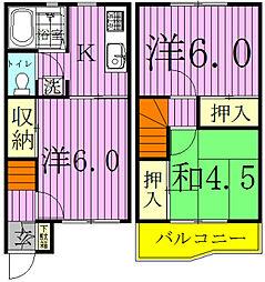 [テラスハウス] 千葉県我孫子市東我孫子2丁目 の賃貸【/】の間取り