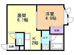 LEE SQUARE 栄通 1階1LDKの間取り