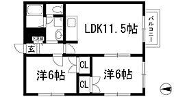 兵庫県川西市萩原2の賃貸アパートの間取り