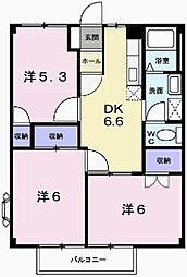 兵庫県姫路市飾磨区蓼野町の賃貸アパートの間取り