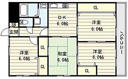 大阪府大阪市生野区田島6丁目の賃貸マンションの間取り