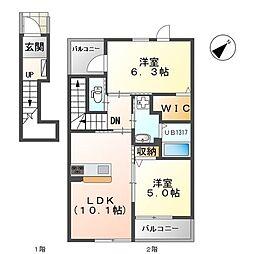 近鉄奈良線 学園前駅 徒歩30分の賃貸アパート 2階2LDKの間取り