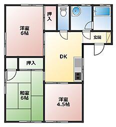 神奈川県横浜市泉区中田東4丁目の賃貸アパートの間取り