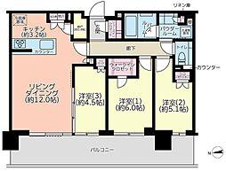 シティタワーズ東京ベイ WEST TOWERS 24階3LDKの間取り