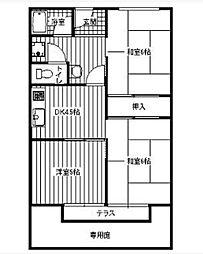 クレセントハイツ[1階]の間取り
