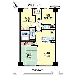 ボヌール成田 3階3LDKの間取り