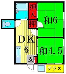 コーポ北村 B棟[1階]の間取り