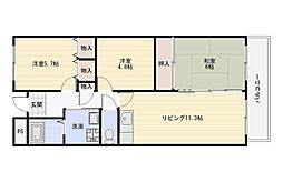 大阪府大阪市平野区長吉出戸2丁目の賃貸マンションの間取り