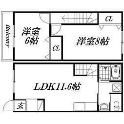 [テラスハウス] 静岡県浜松市北区初生町 の賃貸【/】の間取り