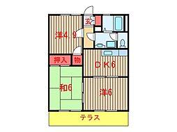 グレース田喜野井I・II・III[3105号室]の間取り