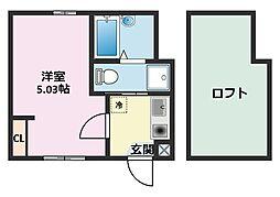 神奈川県横浜市鶴見区向井町2の賃貸アパートの間取り