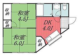 千葉県四街道市鹿渡の賃貸アパートの間取り