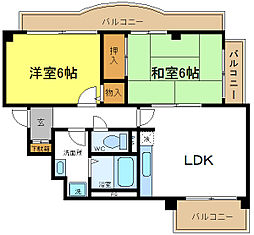 大阪府大阪市平野区西脇3の賃貸マンションの間取り