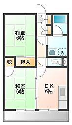 サンコウ舞松原2 3階2DKの間取り