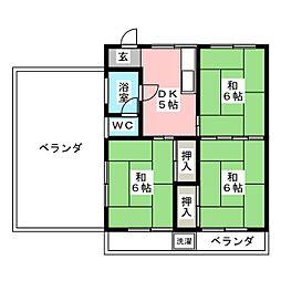 松葉ハイツ[4階]の間取り