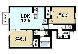 JR関西本線 加茂駅 徒歩6分の賃貸アパート 1階2LDKの間取り
