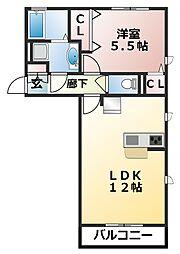 千葉県習志野市藤崎1丁目の賃貸アパートの間取り