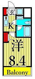東武伊勢崎線 浅草駅 徒歩8分の賃貸マンション 13階1Kの間取り