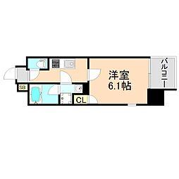 JR東西線 大阪天満宮駅 徒歩1分の賃貸マンション 7階1Kの間取り
