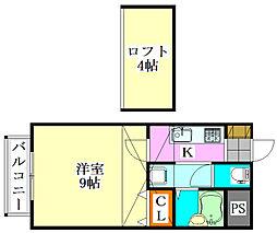 セナリオフォルム東船橋[210号室]の間取り