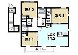 京都府木津川市梅美台3丁目の賃貸アパートの間取り