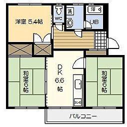 第5オーキッド江平[205号室]の間取り