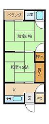 ヲサンダ荘[2階]の間取り