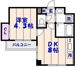 千葉県船橋市湊町1丁目の賃貸マンションの間取り