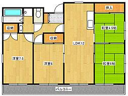 宮城県仙台市青葉区小松島3丁目の賃貸マンションの間取り