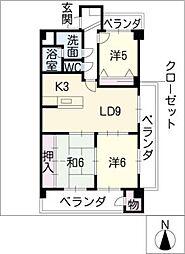 JINハイツ富田浜[2階]の間取り