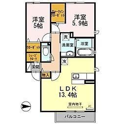 大阪府大阪市平野区瓜破東3丁目の賃貸アパートの間取り